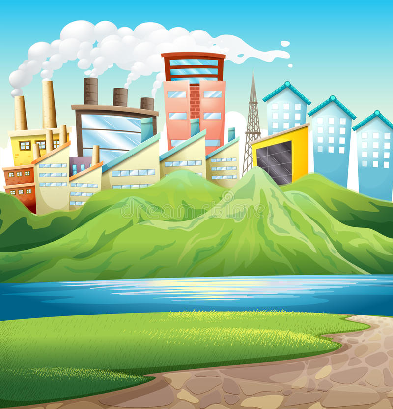 Download Green Mountains Near The River And The Buildings Stock Vector - Image: 33908610