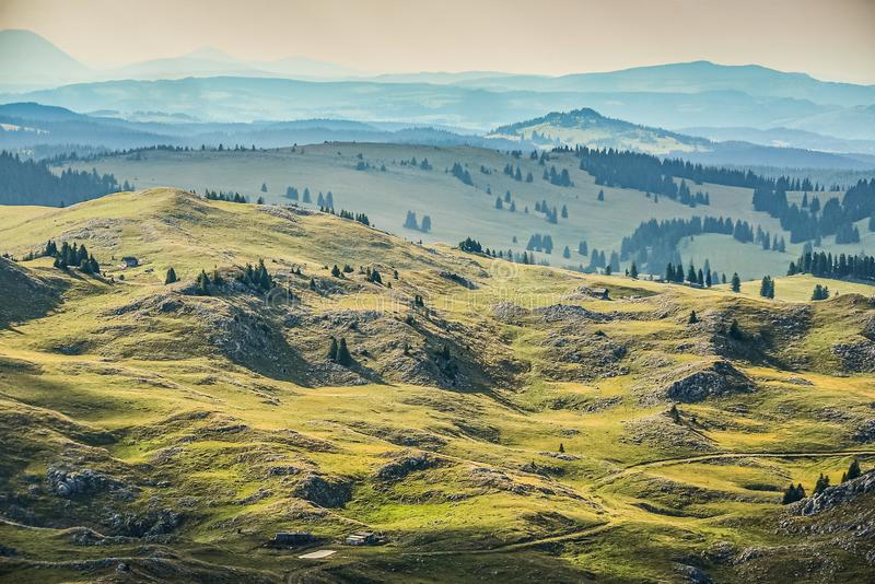 Green mountains in sunset around Travnik city in Bosnia and Herzegovina.  royalty free stock images