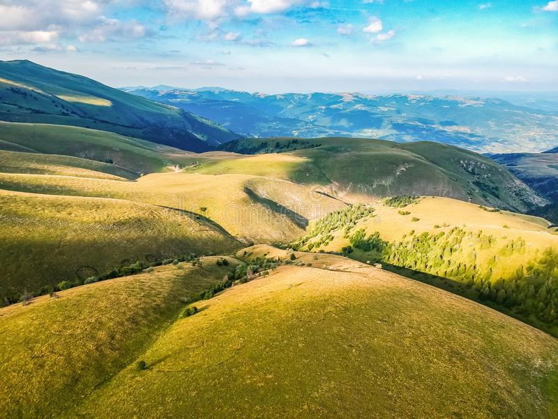 Green mountains in sunset around Travnik city in Bosnia and Herzegovina. Green mountains in sunset around Travnik city in Bosnia and Herzegovina royalty free stock photos