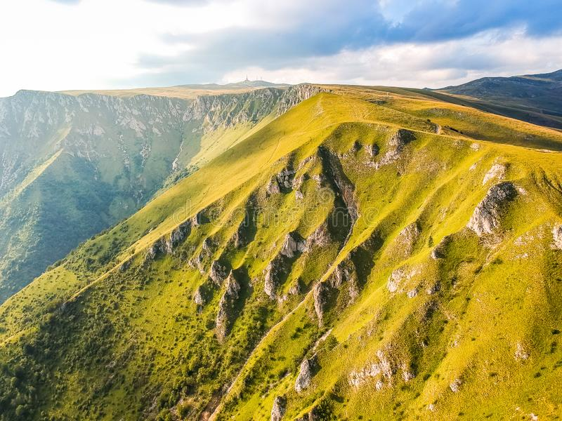 Green mountains in sunset around Travnik city in Bosnia and Herzegovina.  stock images