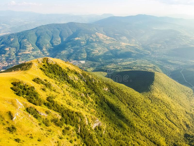 Green mountains in sunset around Travnik city in Bosnia and Herzegovina.  royalty free stock image