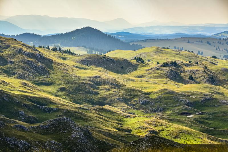 Green mountains in sunset around Travnik city in Bosnia and Herzegovina.  stock photos