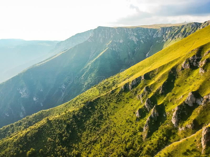 Green mountains in sunset around Travnik city in Bosnia and Herzegovina.  royalty free stock photos