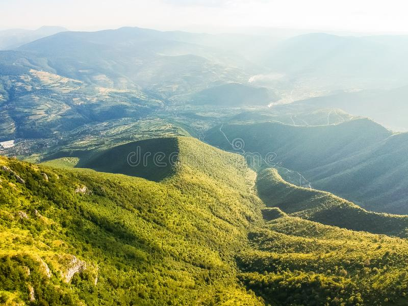 Green mountains in sunset around Travnik city in Bosnia and Herzegovina. Green mountains in sunset around Travnik city in Bosnia and Herzegovina stock photography