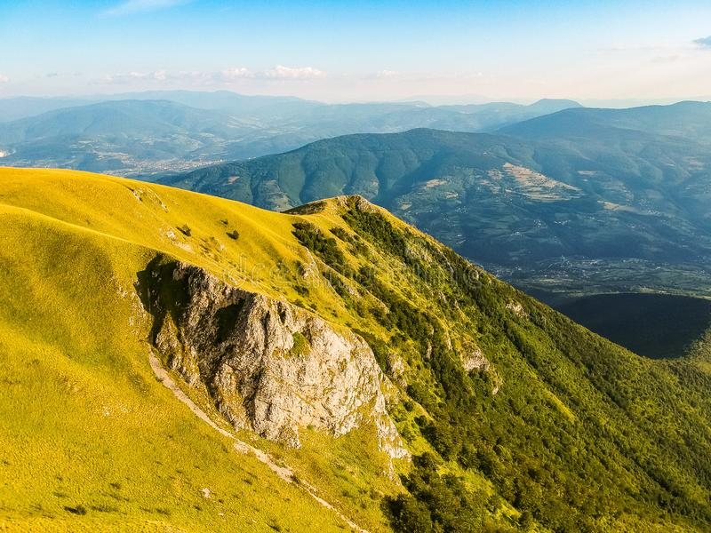 Green mountains in sunset around Travnik city in Bosnia and Herzegovina.  royalty free stock photography