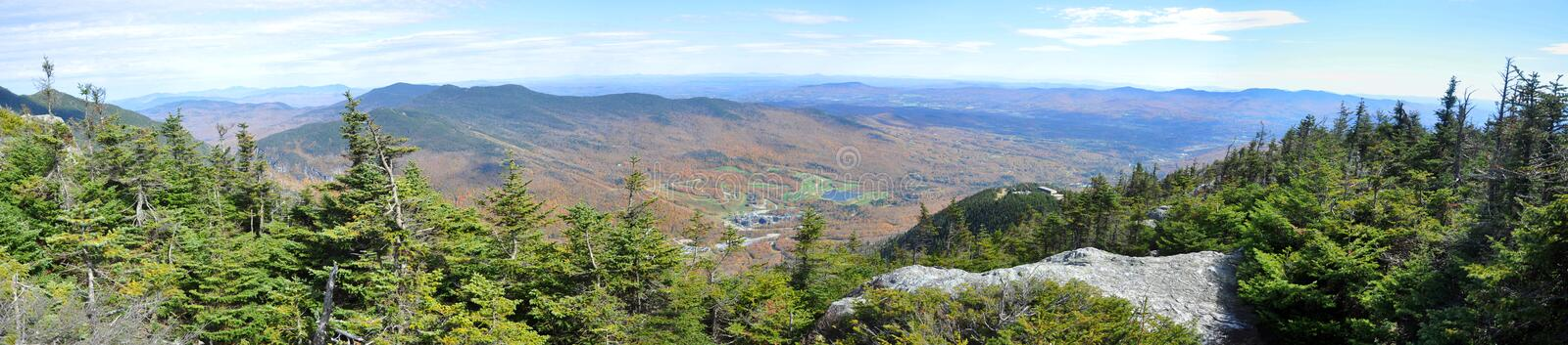 Green Mountains from top of Mount Mansfield, Vermont. Fall Foliage of Green Mountains from top of Mount Mansfield in Vermont, USA stock photography