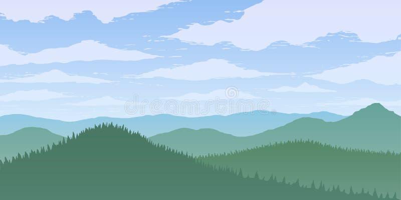 Green mountains valley in fog. Green vector mountains valley in fog royalty free illustration