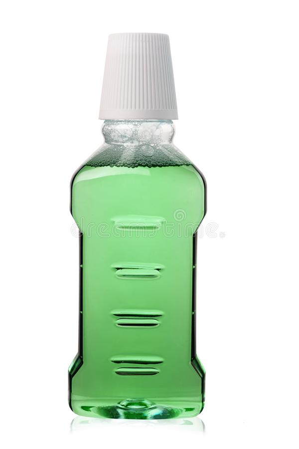 Green mouthwash isolated stock photography