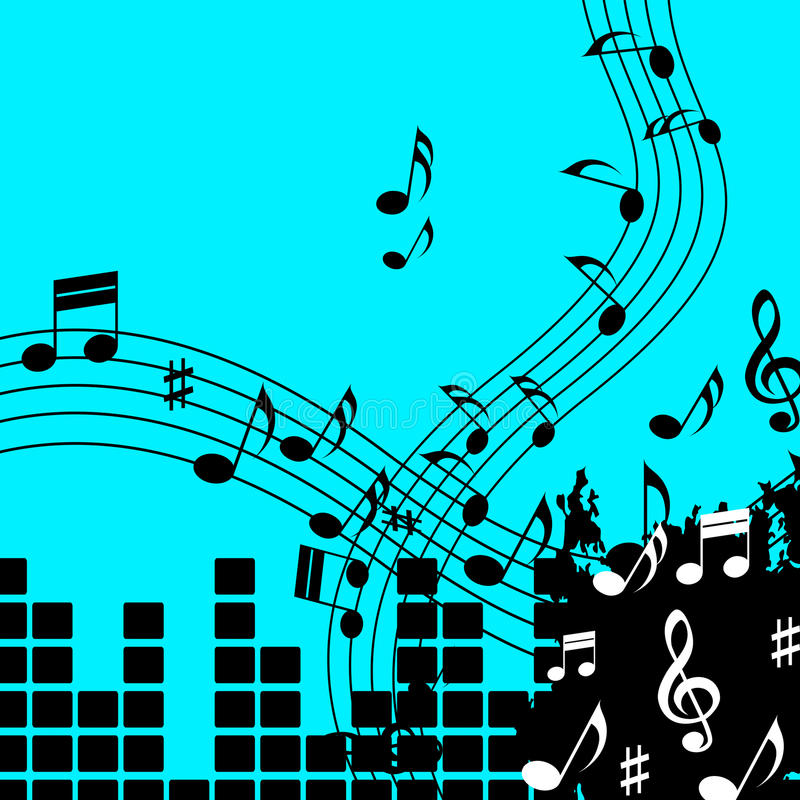 Green Music Background Shows Playing Song Or Pop. Green Music Background Showing Playing Song Or Pop royalty free illustration