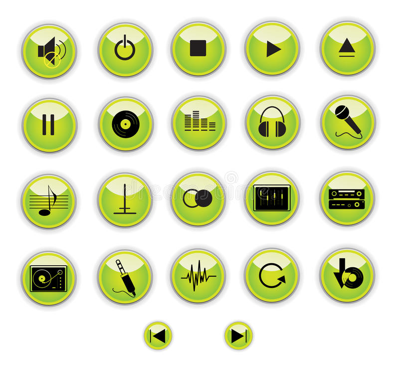 Green music control buttons
