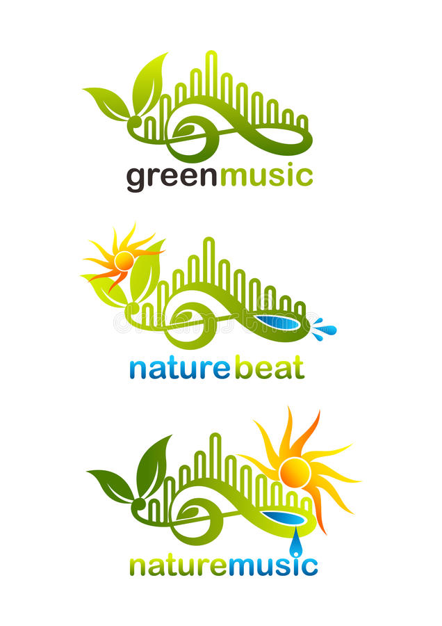 Green music logo, nature beat symbol and nature music icon design stock photos