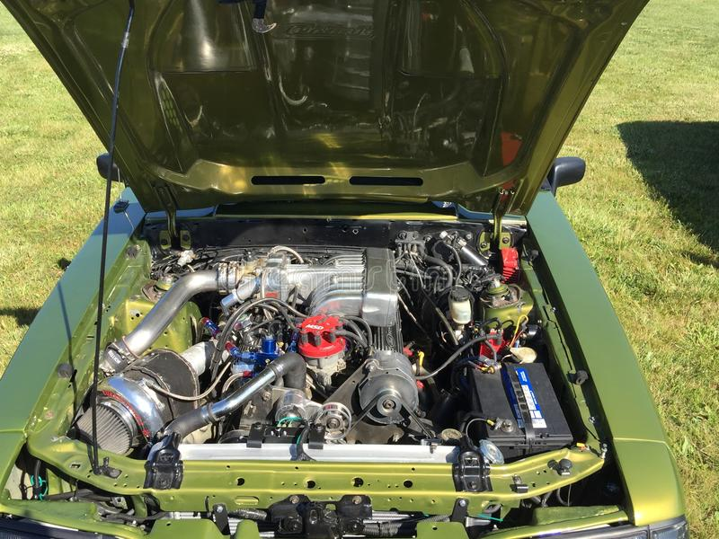 Powerful mustang car with V8 motor being displayed at a cars and coffee event in Komoka Ontario stock photos