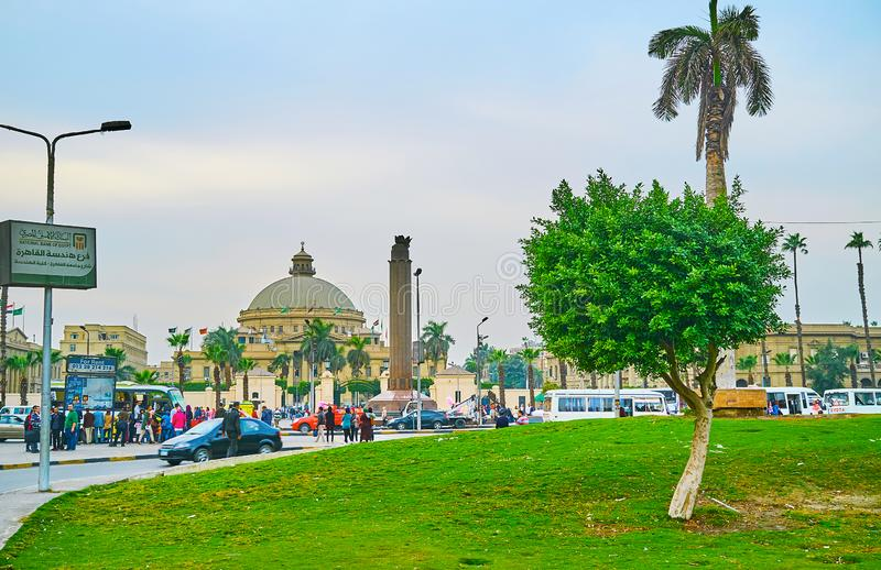 The green Nahdet Masr Square in Giza, Egypt stock images