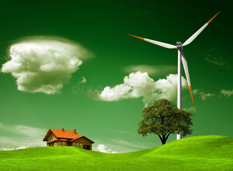 Green natural environment. And new house stock image