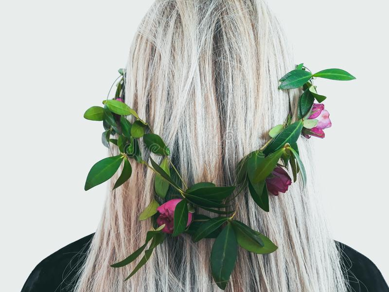 Natural organic hair product herbal flower wreath stock photos