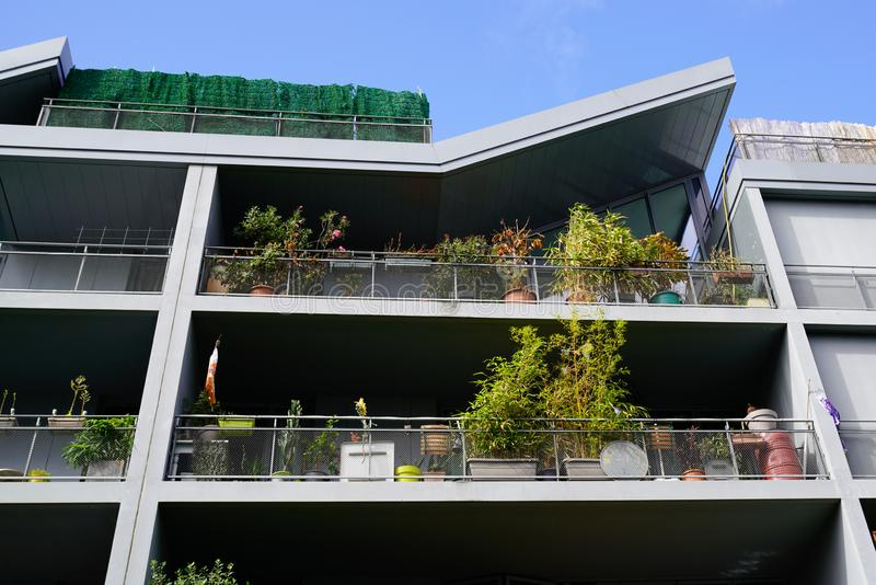 Green nature apartment house residential building complex real estate modern royalty free stock images