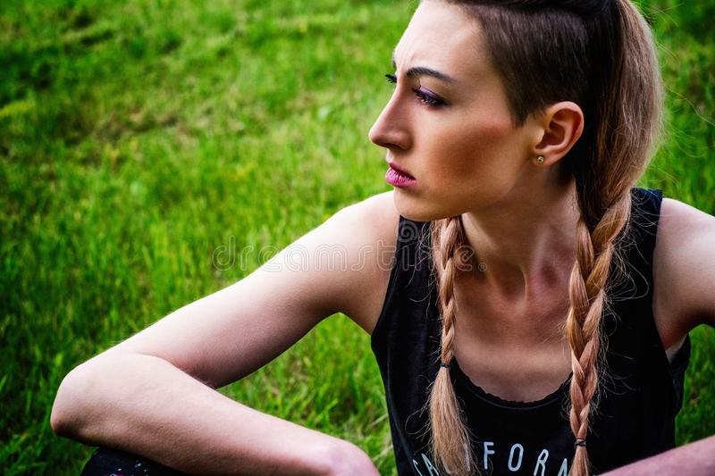 Green, Nature, Beauty, Girl stock photography