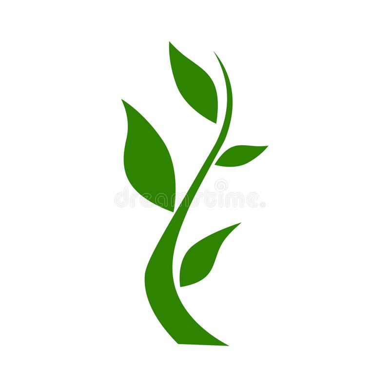 Green nature Branch icon, illustration isolated on white backgr royalty free illustration