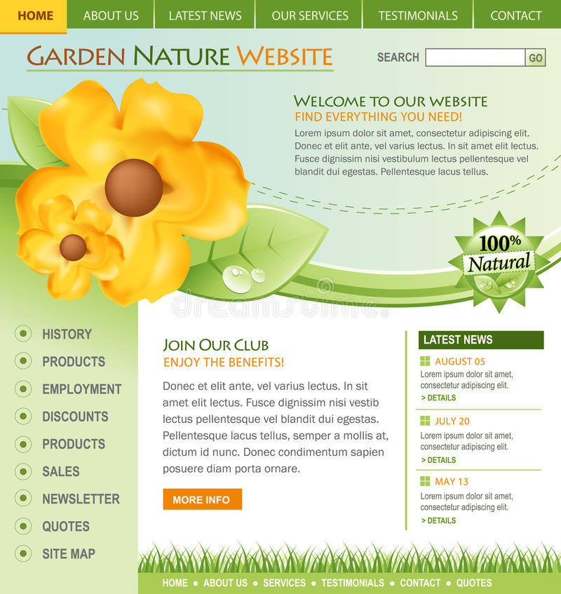 Download Green Nature Flower Website Template Royalty Free Stock Photography - Image: 15096847