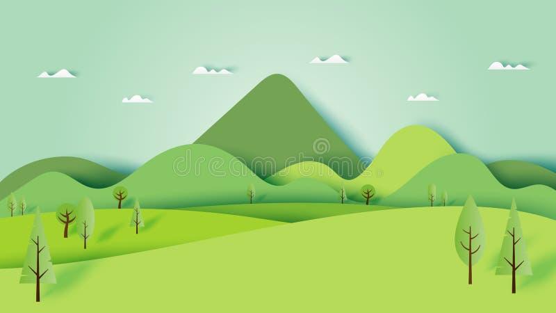 Green nature forest landscape scenery banner background paper ar. T style.Vector illustration stock illustration