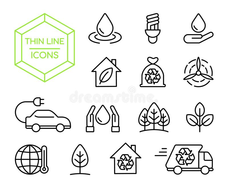 Green energy nature help thin line icon set stock illustration