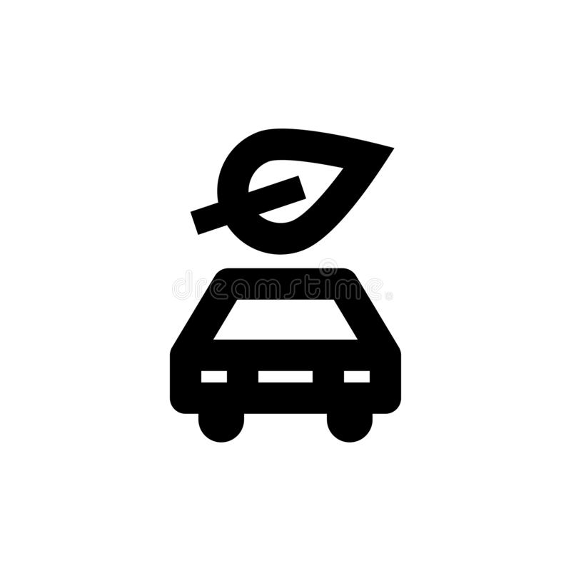 Car and leaf icon. Ecological car sign. Green, nature, leaf, plant, icon, energy, ecology, symbol, car, environmental, sign, transport, vector, power stock illustration
