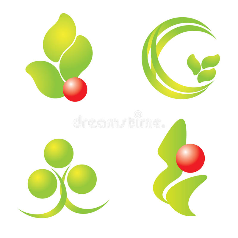 Green nature logos set. Green nature tree company logos vector illustration collection set isolated on white background stock illustration