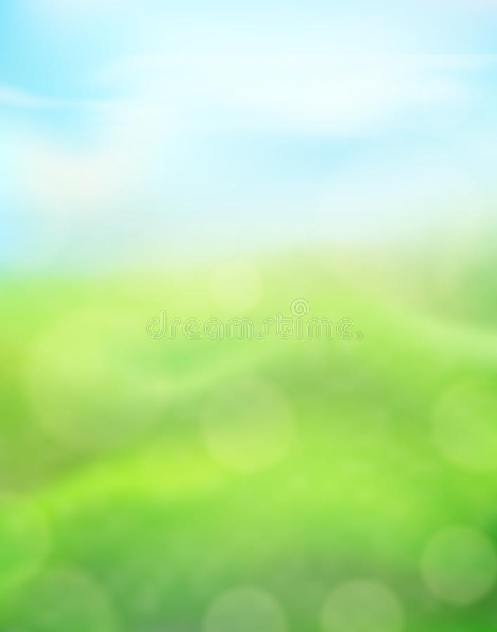 Green nature vertical background on a blurred of grass and sky and bokeh effect. View with copy space add text. Vector stock illustration