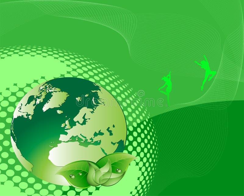 Green Naturel Life and Globe royalty free illustration