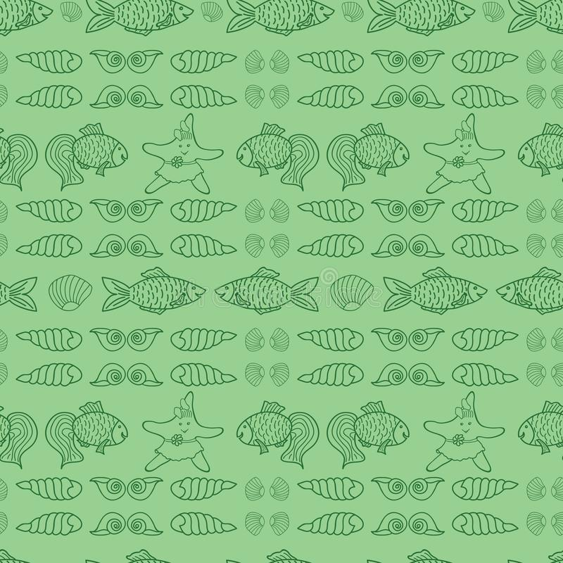 Green nautical vector repeat pattern for kids vector illustration