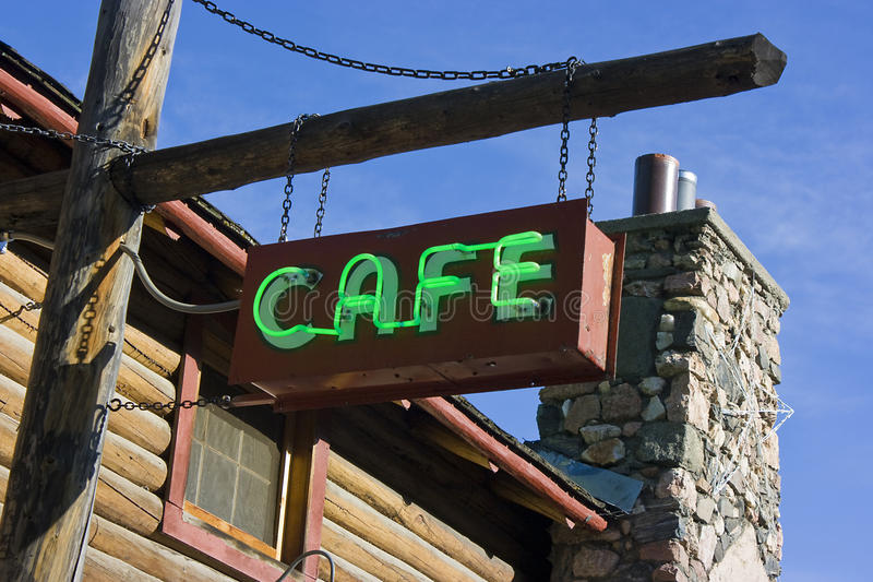 Download Green Neon Cafe Sign On Post Stock Photo - Image: 12391782
