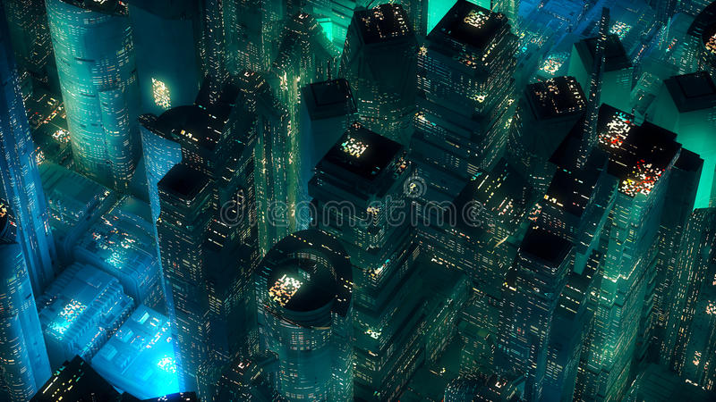 Green neon city skyscrapers modern technology concept royalty free illustration