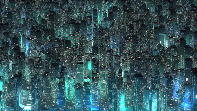Green neon city skyscrapers modern technology concept stock illustration