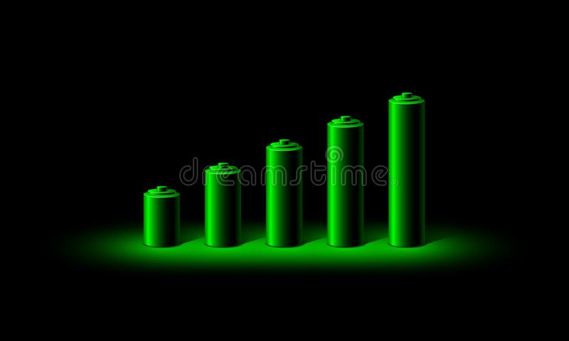 Green neon 3D battery charge level indicator. Realistic set of batteries from the small to the big in neon light stock illustration