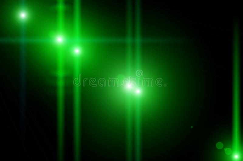 Green neon glowing twisted lines on black background. Shiny neon fractal. royalty free stock image