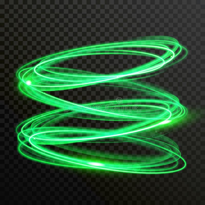 Green neon light circles vector shiny spiral twirl. Green neon light circles. Vector abstract shiny trace or spiral twirl trail with shine sparkle effect stock illustration