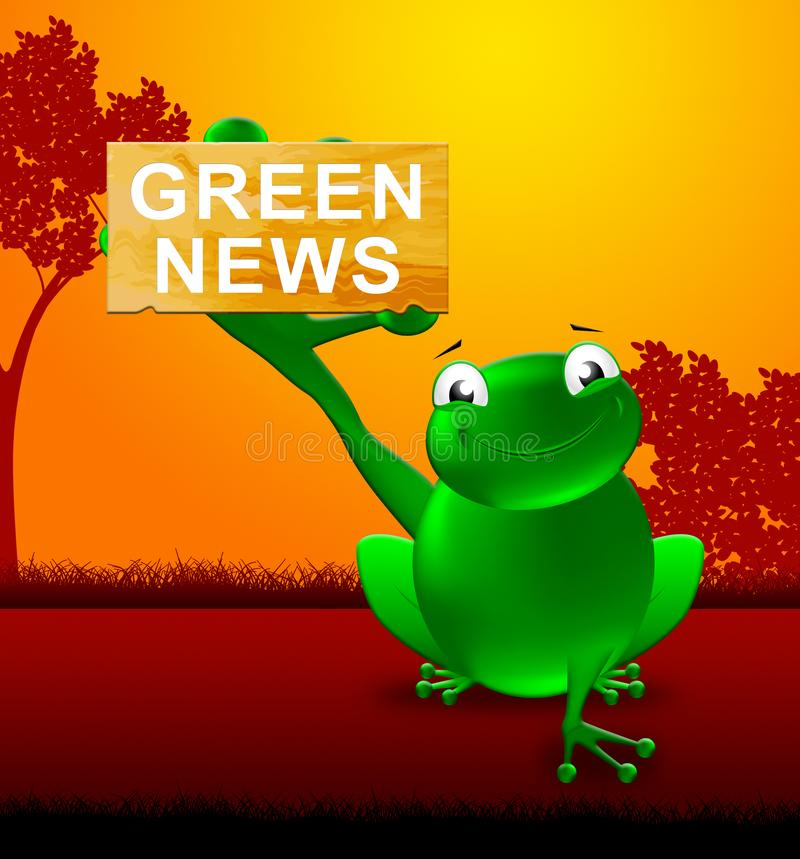 Green News Shows Eco Media 3d Illustration. Frog With Green News Shows Eco Media 3d Illustration vector illustration