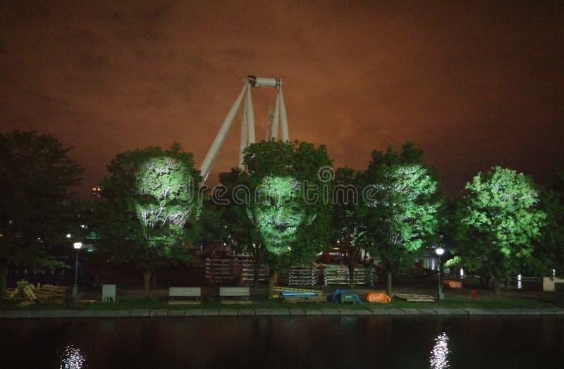 Green, Night, Landmark, Reflection royalty free stock image