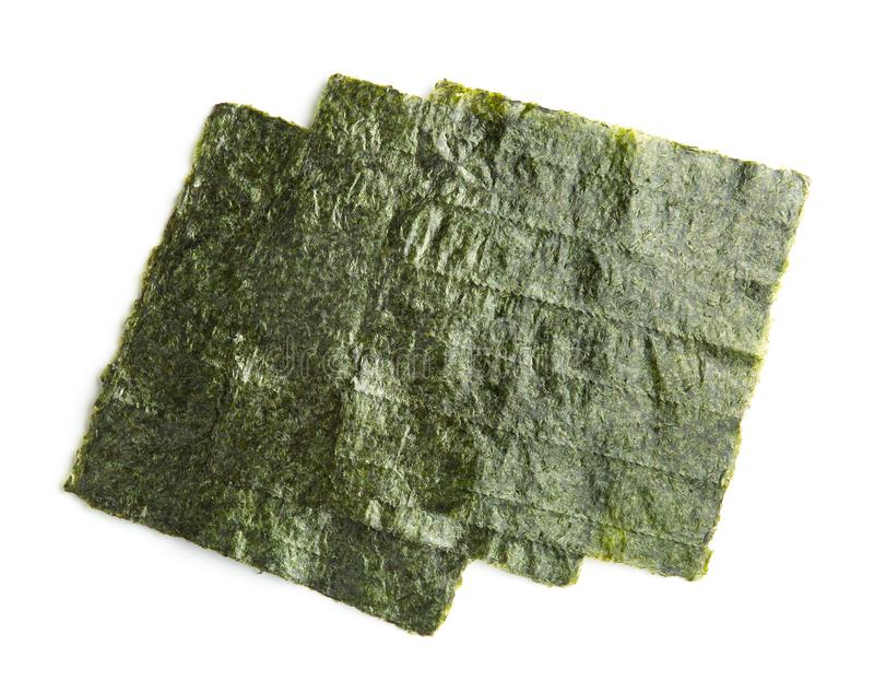 Green nori sheet. Green nori sheet isolated on white background. Nori is the ingredient for sushi stock images