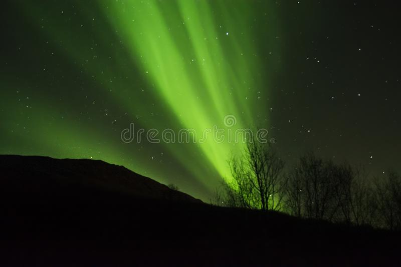 GREEN NORTHERN LIGHTS IN THE ARCTIC SKY. Great Aurora Borealis bands in the Norwegian sky. A spectacular night outside Tromso royalty free stock image