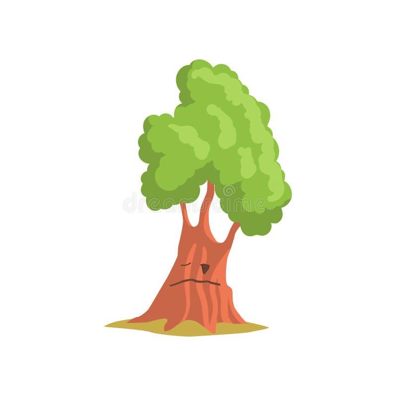 Green oak tree with face. Forest or park plant. Landscape construction element. Flat vector design for mobile game or stock illustration