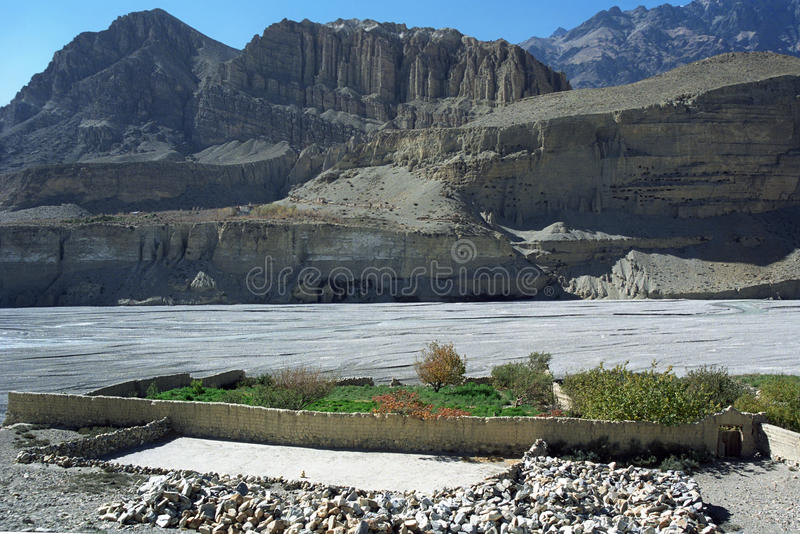 Green Oasis Garden, on the shore of Kali Gandaki River near Chhusang village. stock photos