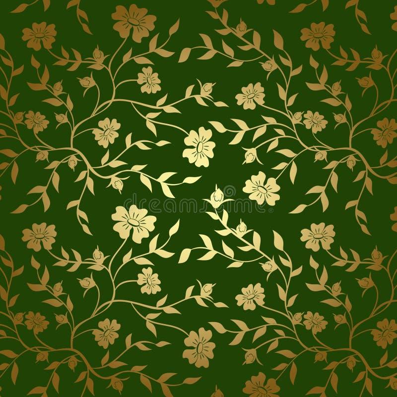 Green och blom- textur för guld för bakgrund - eps royaltyfri illustrationer