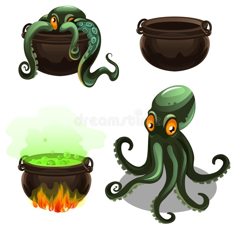 Green octopus and cauldron with magic potion isolated on white background. Vector cartoon close-up illustration. royalty free illustration
