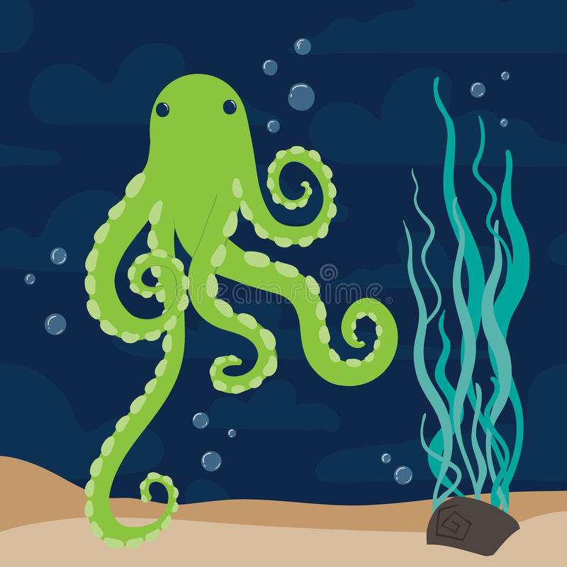 Green octopus marine vector stock photos