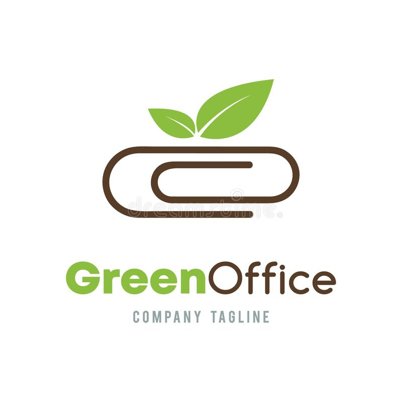 Green Office business abstract vector logo design. Organic Ecology company corporate consultant concept. Paper clip and green lea. Ve icon royalty free illustration