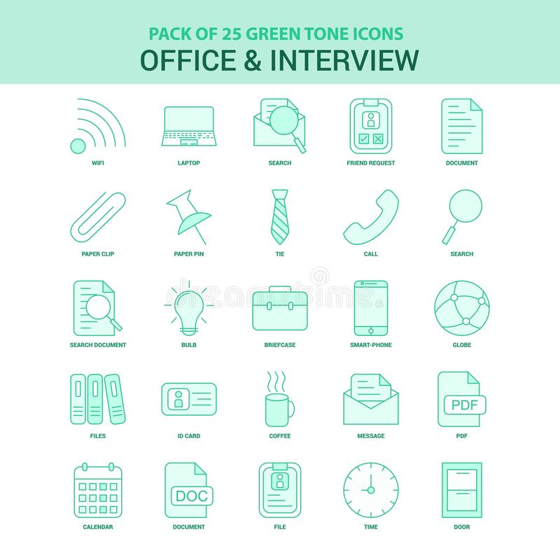 25 Green Office and Interview Icon set. This Vector EPS 10 illustration is best for print media, web design, application design user interface and vector illustration
