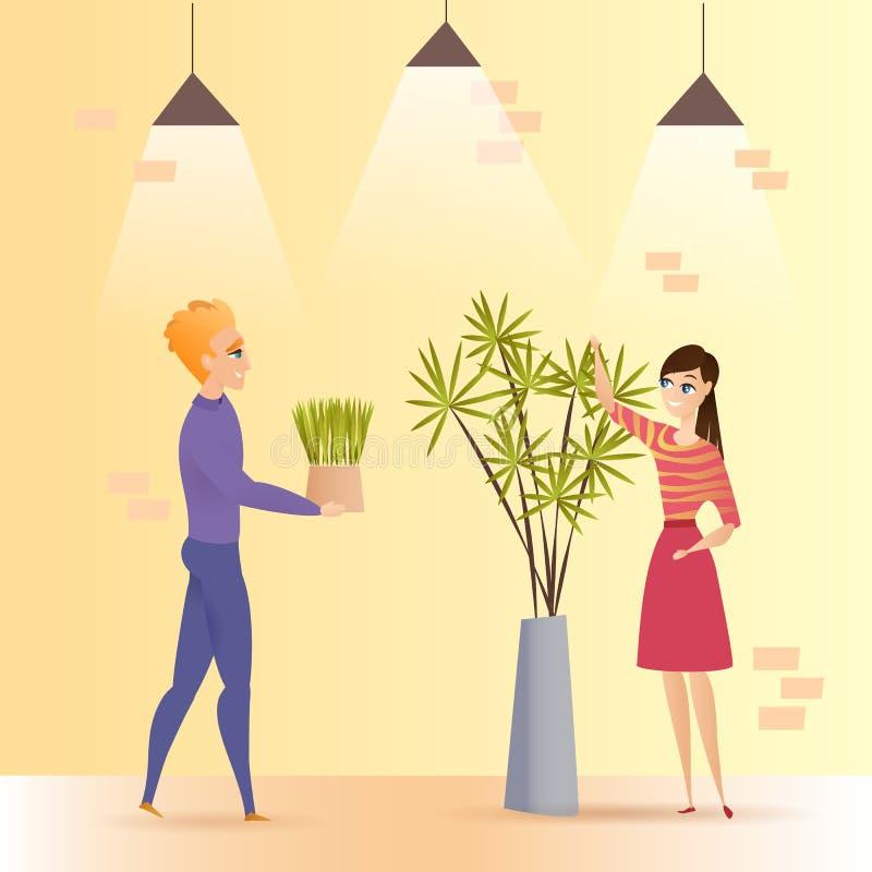 Green Office Plant Pot Vector Illustration stock illustration
