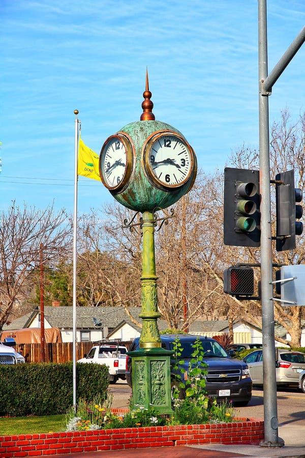 Views of Solvang California. Green old clock on the avenue of Solvang, California  landscape views royalty free stock photo