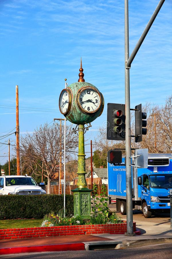 Views of Solvang California. Green old clock on the avenue of Solvang, California  landscape views stock photo